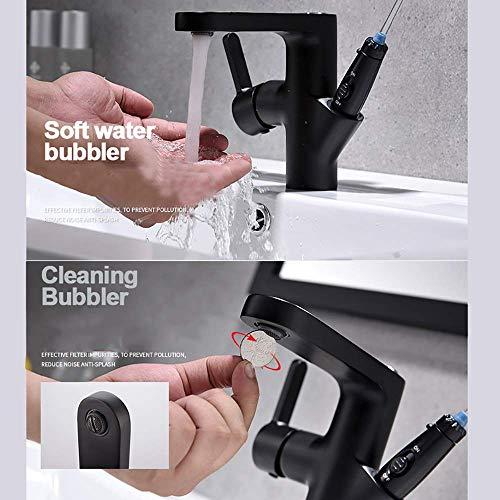 Einzigartige Waschbecken Mischbatterien, Munddusche Wasserhahn Wasserstrahl Zahnbürste für die Mundhygiene Anti Leakage Water Pick Zahnreiniger Dental,Schwarz -