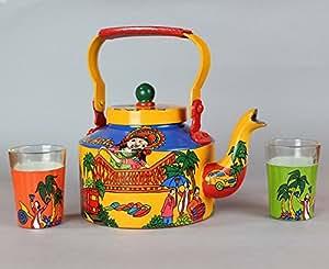 Tea Kettle Pot Hand Painted Tea Pot Set with Chai Tea Glass (Set of 2)