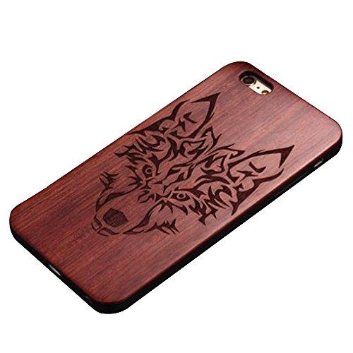 Skitic Custodia iPhone 6 / 6s, bambù di legno naturale e paraurti duro con intagli Pattern Design creativo telefono protettiva Custodia Case Cover per Apple iPhone 6 / 6s 4,7 pollici (Lupo)