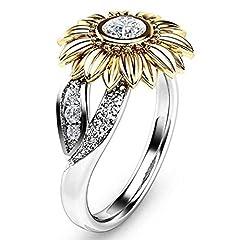 Idea Regalo - Liquidazione offerte, Fittingran Anello di liquidazione, regalo floreale dei gioielli del girasole dell'oro del diamante di tono dell'oro di due toni di donne due toni (6, Argento)