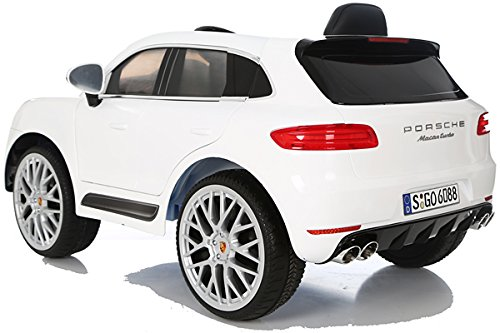 RC Auto kaufen Kinderauto Bild 5: Porsche Macan Turbo viele LED Effekte Soft Start Kinderauto Kinderfahrzeug Kinder Elektroauto Weiss*