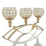VINCIGANT Candelabros de Cristal de Oro/3 Brazos para la Decoración de la Pieza Central de la Mesa de Café, Día de la Boda/Regalos de Pascua