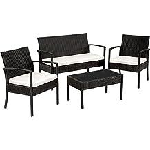 tectake salon de jardin table de jardin en resine tressee chaises salon dexterieur poly - Meuble Jardin Pas Cher
