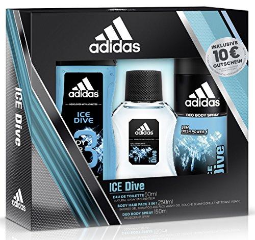 adidas Ice Dive Eau de Toilette + Deodorant Body Spray + Shower Gel + Online Shop Gutschein, 300 ml