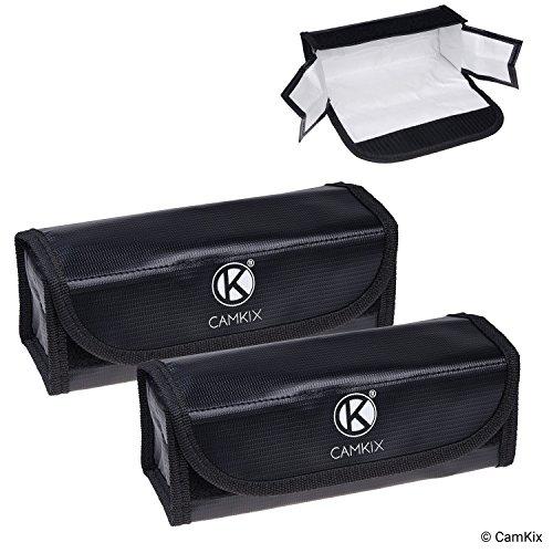 CAMKIX Große Feuerfeste LiPo-Akku-Taschen - 2-er Pack - Sicherheits- und Aufbewahrungstasche - Für sichere Ladung und Transport - 19.5 x 6.5 x 7.5 cm - Ideale Lösung für Flugzeug-Handgepäck