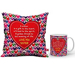 Indigifts Rakshabandhan Gifts for Sister Sis A Gift to Heart Quote Coffee Mug 330 ml & Cushion Cover 12x12 inch with Filler - Rakhi Gifts for Sister, Rakshabandhan Gifts, Sister Birthday Gift