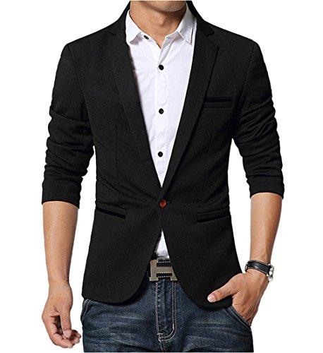 BELLA-Uomo Giacca Maniche Lunghe Abbigliamento Suit Giacca Nero
