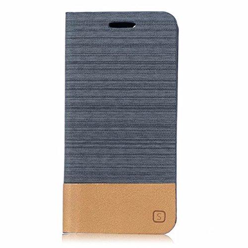 UKDANDANWEI Apple iPhone 7 Plus Étui, de protection rabattable en toile canvas et cuir synthétique en style flip case pour Apple iPhone 7 Plus - Gris Bleu Gris
