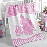 Delindo Lifestyle® Babydecke TONI ROSA / 380g/m² Kuscheldecke aus 60% Baumwolle / Krabbeldecke 75x100 cm / Wolldecke mit Elefanten Motiv
