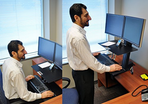 Cheapest Ergotron WorkFit-S 33-341-200 Dual Sit-Stand Workstation – Steel, Plastic, Aluminum – Black Online