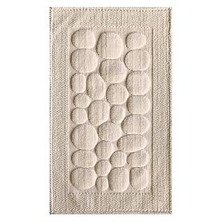 Ilkadim Tapis de Salle de Bain avec Motif Pierres 50 x 80 cm 10-15 mm 100% Coton uni, Naturel, 50 x 80cm