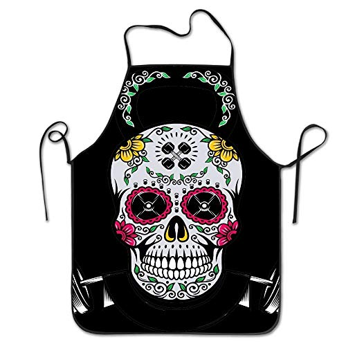 Art Sugar Skull Durable Adjustable Washable Kitchen Overlock Apron Mother Gift Cooking Baking Restaurant Unisex