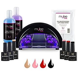 Nail Gel Polish Led Kit 4 Bluesky Colours Top Base Coat UV Lamp Starter Kit Gellux prep + wipe remover 40518/40521/40537/A47 (Black LED Lamp)