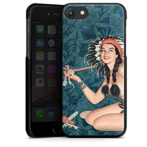 Apple iPhone X Silikon Hülle Case Schutzhülle Indianer Frau Pinup Hard Case schwarz