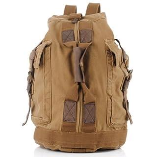 Aubig Neu Damen Herren Unisex Vintage Canvas Leder Rucksack Sack Buchtasche Schultasche Segeltuchtasche Taschen für Bergsteigen Outdoor Camping Sports (Khaki)