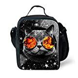 Showudesigns Cute Printing Cat Office Work Lunch Bag Adult Picnic Food Carry Bag