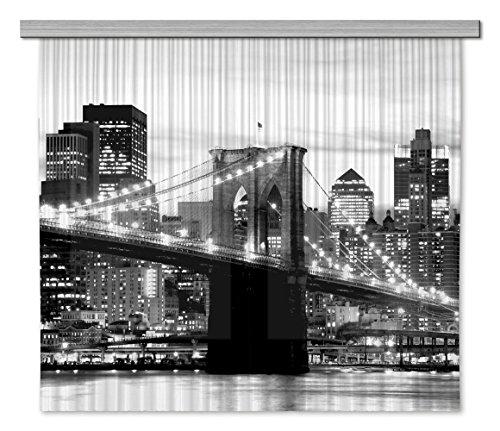 Brooklyn Bridge Lichter (AG Design FCSXL 4812 Brooklyn Bridge, Gardine/Vorhang, 2 Teile Stoff, mehrfarbig, 180 x 160 cm)
