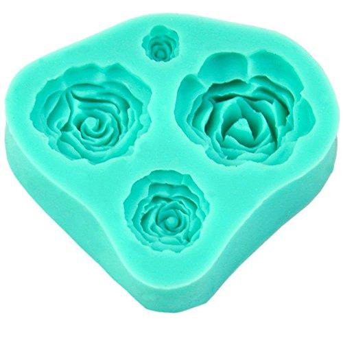 4 Tamaño Rosa Flor silicona molde torta Decoración