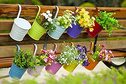 Dipamkar® Set of 10 Metal Hanging Flower Pots With Drainage Hole Flower Bucket Balcony Planter Garden Home