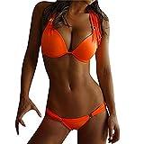 Venta caliente !bikini, FeiXiang♈Mujeres Nuevo Dos trajes de baño acolchado Push Up Bras Bikini Set Beachwear Belt Split traje de baño Bodywashwear 2018 (XL, naranja)