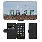 PU LEDER LEATHER FLIP CASE COVER HÜLLE ETUI TASCHE SCHALE // M00421563 Sommer-Strand-Seemöwen Liegestühle Meer // Amazon Fire Phone