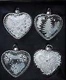 Weihnachtsglaskugeln Herzform Weihnachtskugeln, 4er-Set