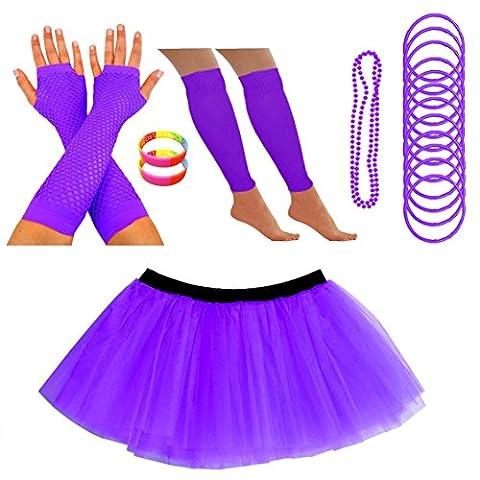 REDSTAR FANCY DRESS Neon Tutu Skirt Leg Warmers Fishnet Gloves Necklace Beads Gummy Bracelets and Neon Wrist Beads (14-22 UK, Purple)