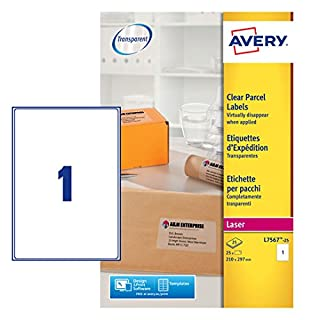 Avery L7567-25 Self-Adhesive Clear Parcel/Shipping Labels, 1 Label per A4 Sheet