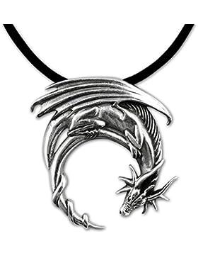 Anhänger Drache Drachenanhänger aus 925er Silber mit Lederband Schmucksäckchen und Karte 5053