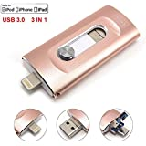 Tipmant Unidades flash USB 3.0 for iPhone 5 6 6S 7 Plus, iPad 3in1 OTG Teléfono Móvil Tarjeta de Memoria Lightning iOS Apple Memoria USB Almacenamiento Externo (64GB, Pink)