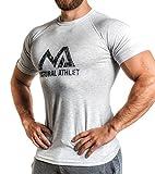 NATURAL ATHLET T-Shirt hellgrau M Fitness Herren tailliert Slip fit meliert kurzarm rundhals