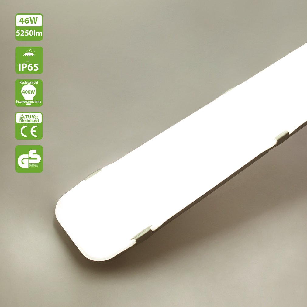 Luci Al Neon Per Ufficio.Oeegoo 120cm Ip65 46w Led Lampada Da Soffitto A Led Per Esterno