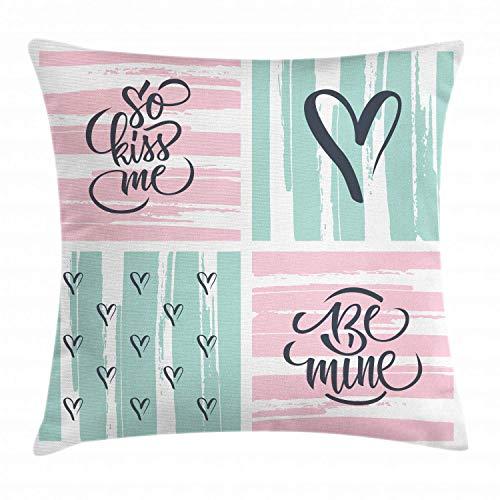 Ddoby cuscino copricuscino love love, citazioni e cuori di san valentino su sfondo a strisce grunge, federa decorativa a cuscino quadrato, grigio antracite grigio pallido seafoam