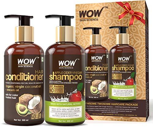 WOW Apple Cider Vinegar Shampoo - WOWsome Twosome No Parabens & Sulphates Hair Care Package - 600mL