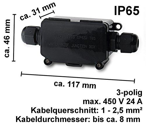 Verteilerdose 3 polig IP65 Wasserdicht Kabelverbinder Dosenmuffe Verbindungsbox