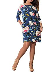 DESY Mujer Vaina Vestido Trabajo Fiesta/Cóctel Tallas Grandes Vintage,Floral Escote Redondo Hasta la Rodilla 3/4 Manga Poliéster VeranoTiro , blue , 3xl