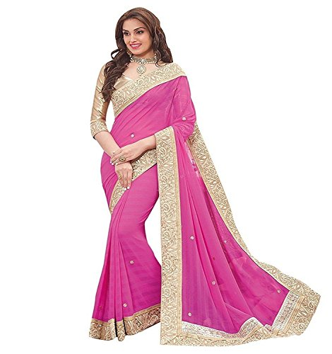 B Bella Creation Women's Georgette Saree (Pink Stone Embolish_Pink_Freesize)