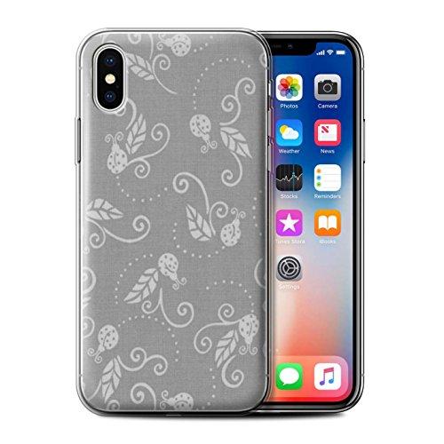 Stuff4 Gel TPU Hülle / Case für Apple iPhone X/10 / Gelb Muster / Marienkäfer-Muster Kollektion Grau
