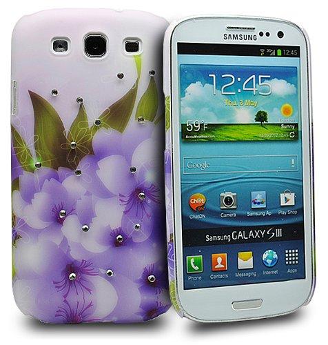5403874494 Harter Fall Case für Samsung Galaxy S III lila Blume Diamant ()