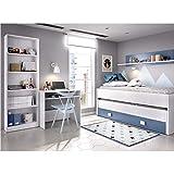 HABITMOBEL Dormitorio Juvenil Completo Cama Nido 2 cajones + Estante + estantería 6 baldas + Mesa Escritorio