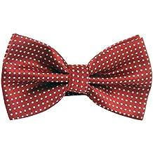 Panegy Bow Tie Hombres Pajarita Corbata de Lazo Pre-anudada con Texturas Ajustable Accesorio para Traje Esmoquin Boda Fiesta - Lunares Rojo