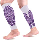 uytrgh Mandala Purple Mandalas Calf Compression Sleeves Shin Splint Support Leg Protectors Calf Pain Relief for Running, Cycling, Travel, Sports for Men Women (1 Pair)