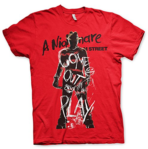 Preisvergleich Produktbild Offizielles Lizenzprodukt Nightmare On Elm Street - Come Out And Play T-Shirt (Rot), X-Large