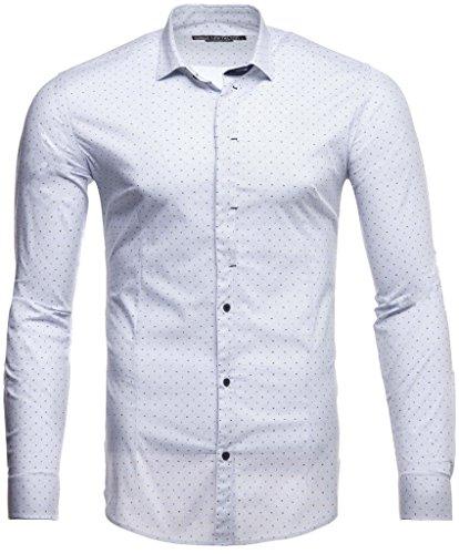 LEIF NELSON Herren Hemd Slim Fit Langarm Bügelleicht Modernes Freizeithemd für Anzug Business Hochzeit Freizeit Party - Weiß - M