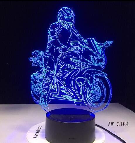 Kamera Illusion LED USB Licht Touch 7 FarbeNachtlichtBett Kopf Dekoration LED Licht Helm Motorrad, Helm Motorrad, Touch und Remote ()