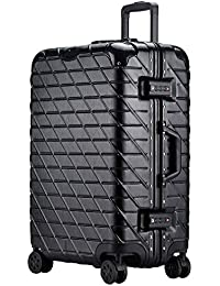 Trolley Case-24//26 Inch Aluminum Frame Aircraft Wheel Trolley Case Student Luggage Solid Color Password Suitcase Business Travel Check Box 4 Color Optional Color : Rose Gold, Size : 24 Inch