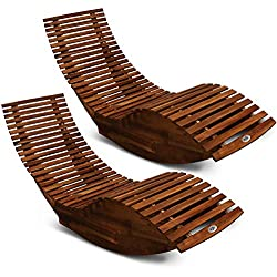 Deuba 2X Chaise Longue à Bascule en Bois d'acacia Ergonomique certifiée FSC Bain de Soleil Transat Jardin Terrasse