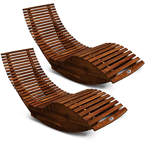 Deuba 2X Schwungliege | FSC®-zertifiziertes Akazienholz | Ergonomisch | Vormontierte Latten | Wippfunktion | Gartenliege Sonnenliege Relaxliege Saunaliege