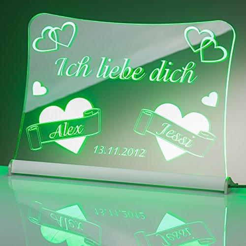 """LED Acrylglas Schild\""""Ich liebe dich\"""", 20x15 cm, mit persönlicher Laser Gravur (grün)"""