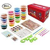 Super Schleim Set Jyoker Slime Kit, Togather 12 Pack Crystal Clay Schleim und 12 Pack Fluffy Slime Spielzeug mit DIY Werkzeugset Set